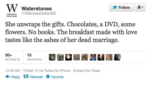 ¿No queremos que pase algo así o no? (Comentario aparte: este tweet lo publicó una cadena de librerías inglesa enorme. Me parece fantástico. Lloro.)