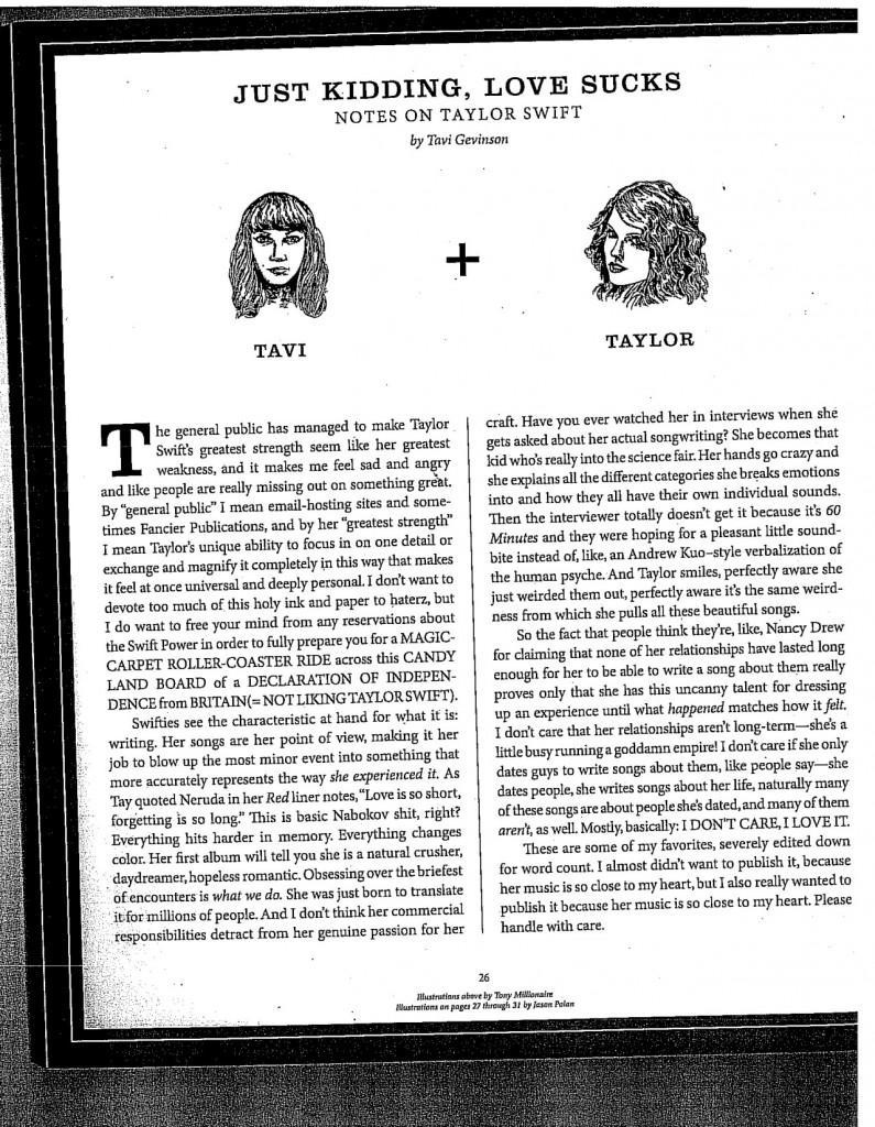 Artículo sobre Taylor Swift de Tavi Gevinson