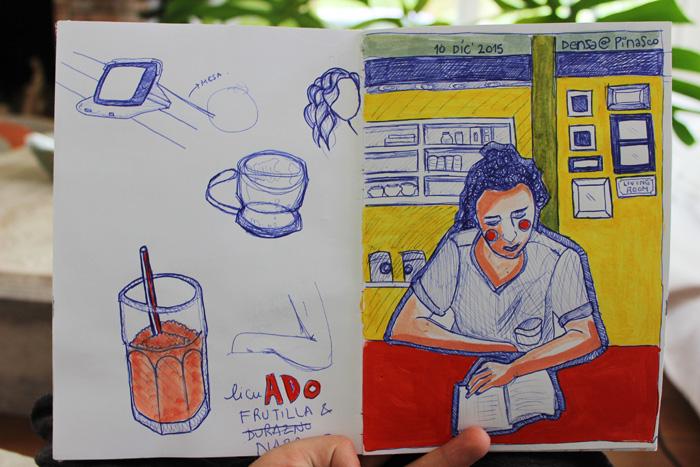 Fuimos a tomar un café con mi hermana y aburrida agarré la lapicera y la dibujé. La que la conozca sabe que el retrato no se parece en absoluto pero es un buen ejercicio...