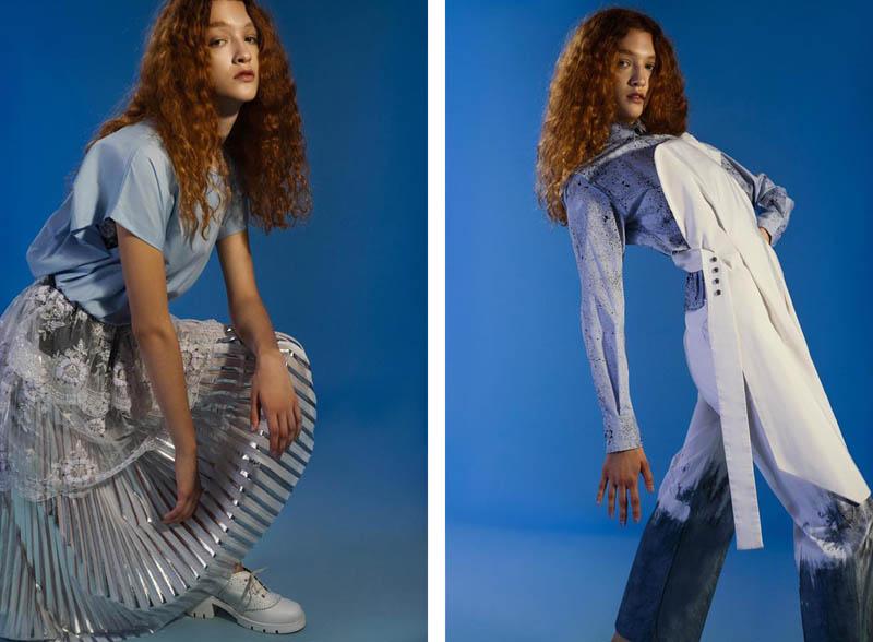 """""""White and blue"""", publicado en Vogue Italia. Fotografía por Clara Cohen, estilismo por Pia Rey, maquillaje y peinado por Marianela Fidalgo, asistido por Rocio Marrodan, con Joaquina y Paloma de modelo. Imágenes retocadas por Ale Jimenez for DC Studio y producidas por PACTO."""