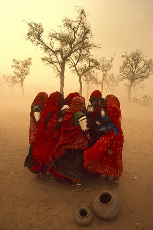 Tormenta de polvo en India, Rajasthan, 1983.